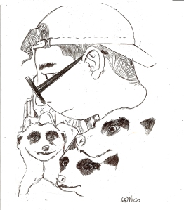 Jacopo Flammer circondato dai suricati