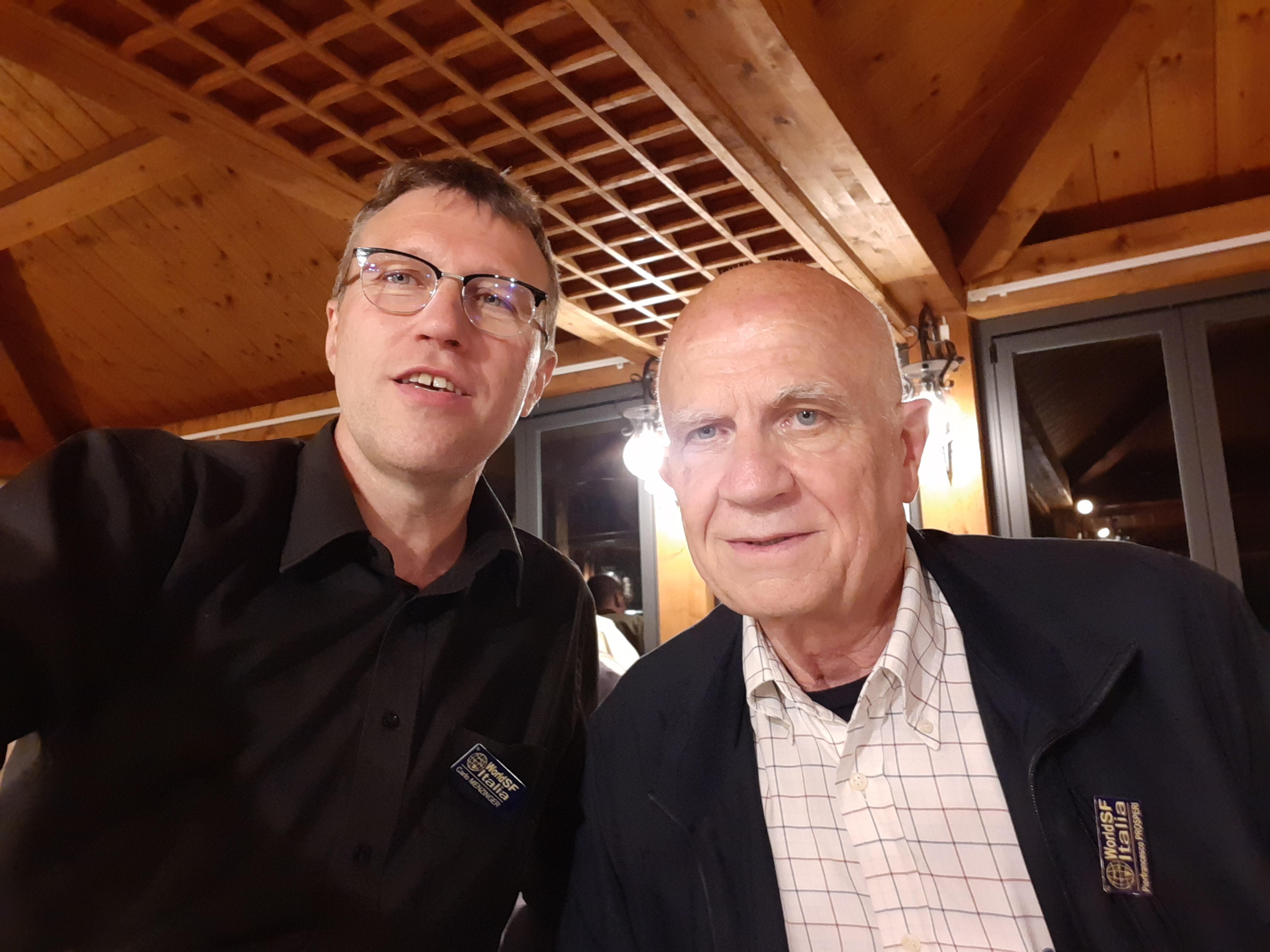 Carlo Menzinger e Pierfrancesco Prosperi, il 25 maggio 2019 durante il raduno nazionale degli autori di fantascienza World SF Italia
